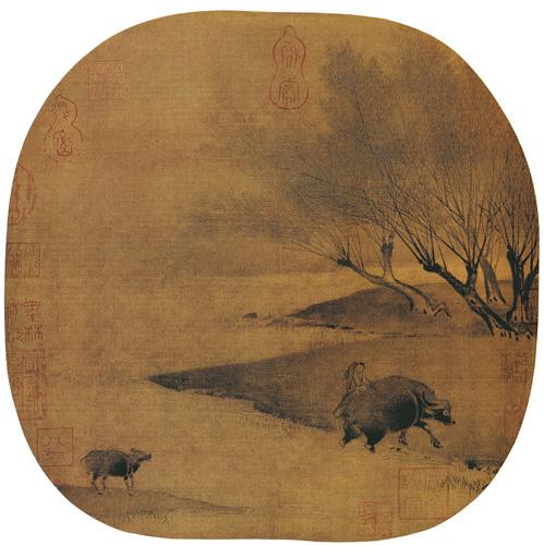 柳溪归牧图 佚名