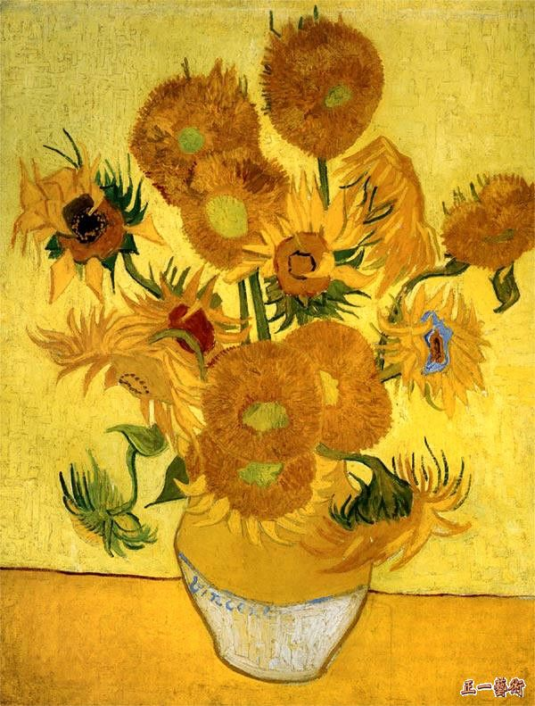 花瓶中15朵向日葵 凡高