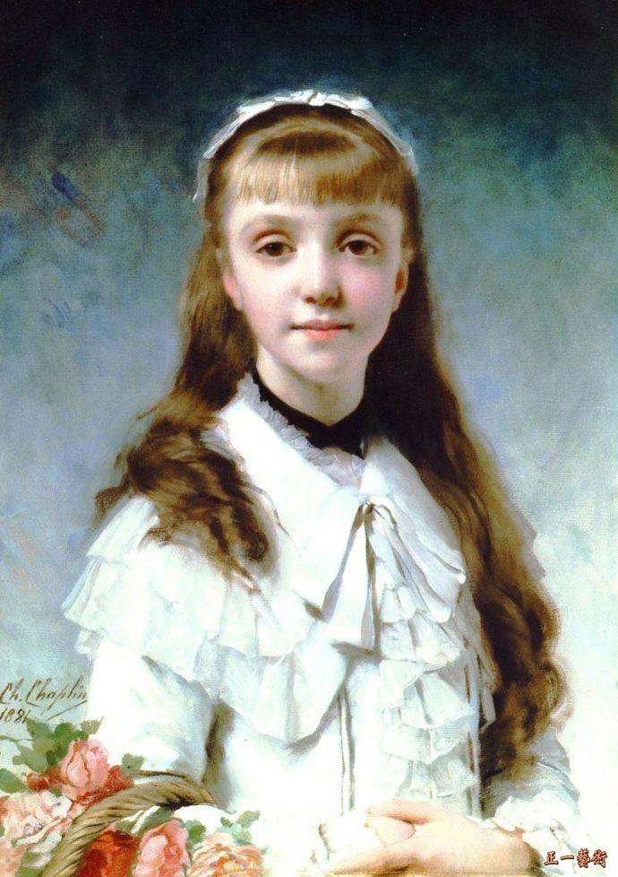 年轻的女孩与花束 卓别林