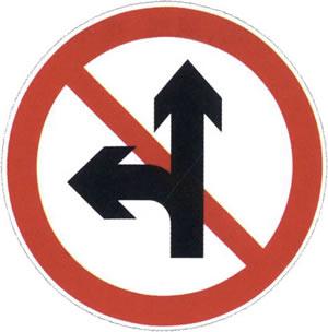 禁止直行和向左转弯标志
