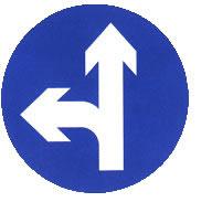 直行和向左转弯标志