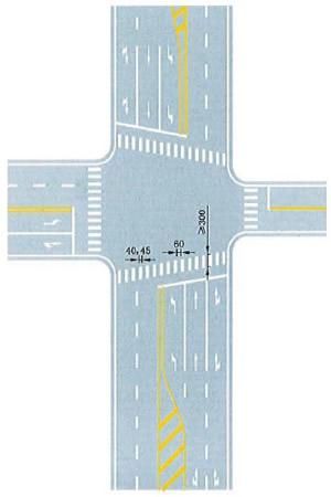 与道路中心线斜交的人行横道线