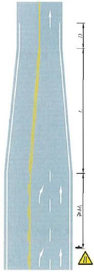 三车行道变为双车行道渐变段标线设置示例
