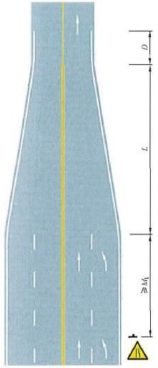 四车行道变为双车行道渐变段标线设置示例