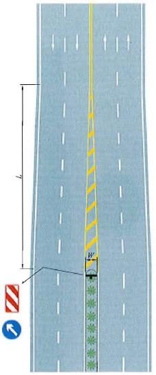 接近实体中央分隔带标线设置示例
