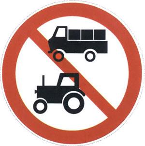 表示禁止标志上所示的两种车辆驶入标志